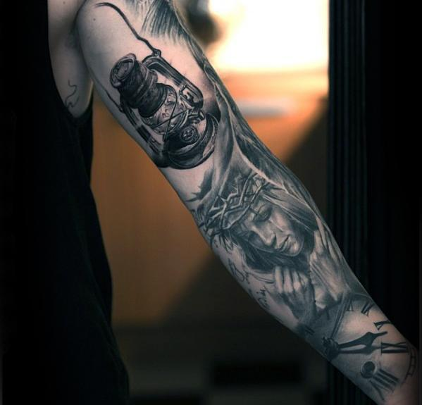 Czarny i szary atrament Inner Arm Lantern Male Tattoo Ideas