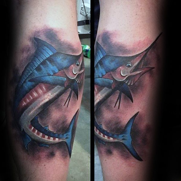 Bein Calf Marlin Tattoo Design na Mann