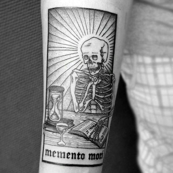 Skeleton Looking At Clessidra Memento Mori Inner Forearm Tattoo Designs