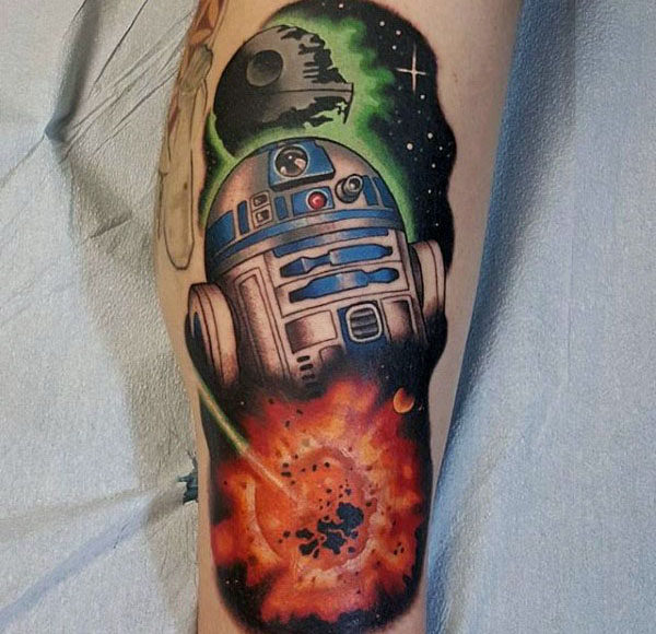 Bein Explosion Rd2d Star Wars Jungs Tattoo