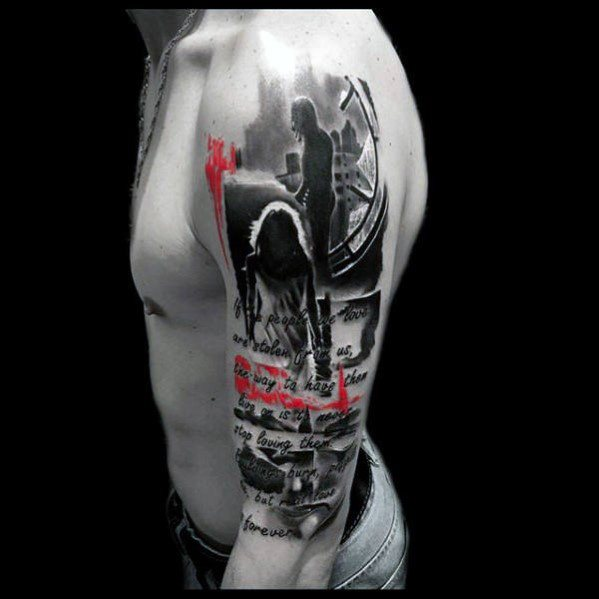Half Sleeve Male Cool Red And Black Tattoo Ideas