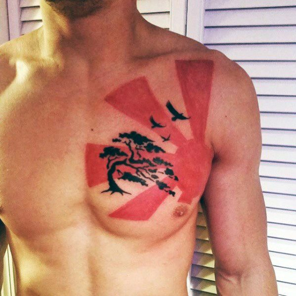 Rising Sun Chest Red And Black Guys Tatoveringer