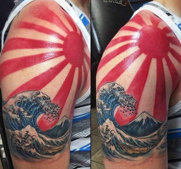 Mezza manica Guys Rising Sun Giapponese Ocean Waves Tattoo Ideas