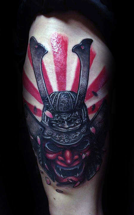 Samuari Mask Tattoo With Rising Sun Mens Tatuaggi coscia