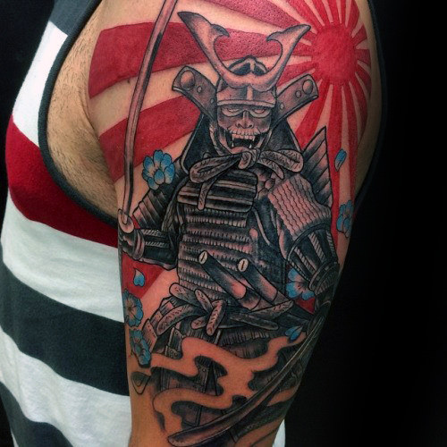 Samuari Mens Warrior Rising Sun Mezza manica Tattoo