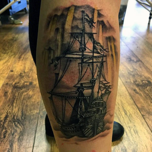 망 Simple Sailboat Tattoo