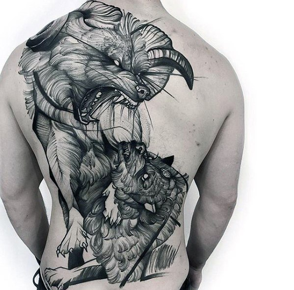 Full Back Black And Grey Guys Sketch Design Tattoo