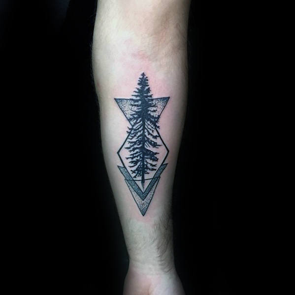Tatuaggio di Guys Small Geometric Shapes Tree sull'avambraccio interno