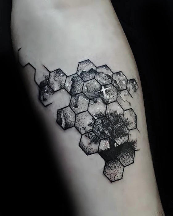 Hexagon Geometric Small Tree With Night Sky Uomo tatuaggio avambraccio interno