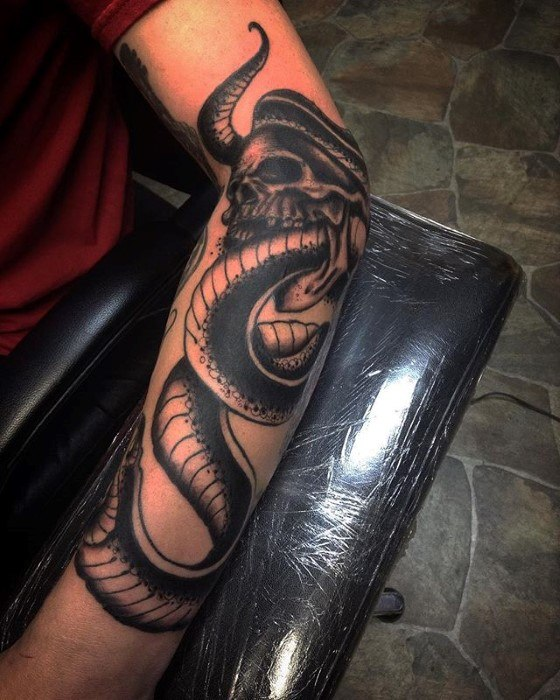 Outer Forearm Amazing Men The Dark Mark Tattoo Designs