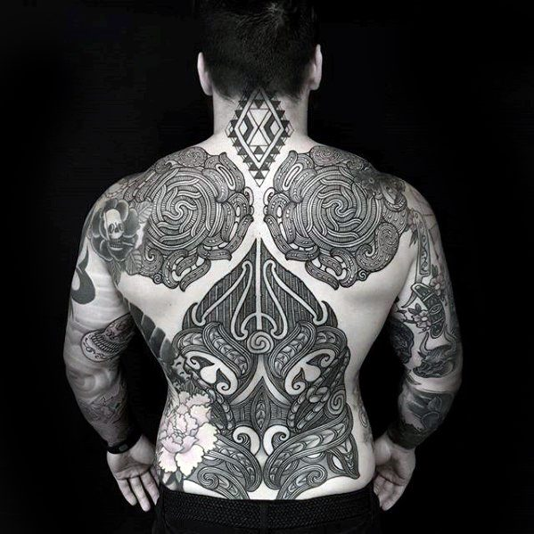Mens Manly Awesome Tribal Tattoo Design เต็มเปี่ยม