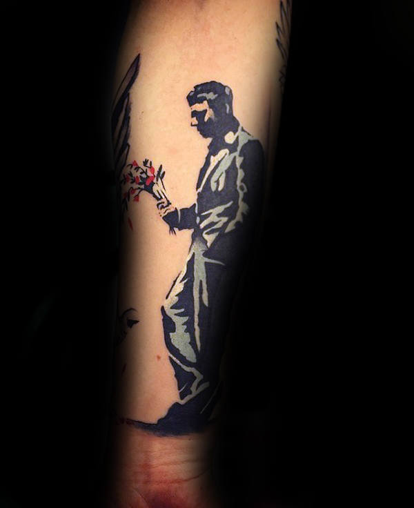 Kul Banksy Sad Man With Flowers Underarm Tattoo For Guys
