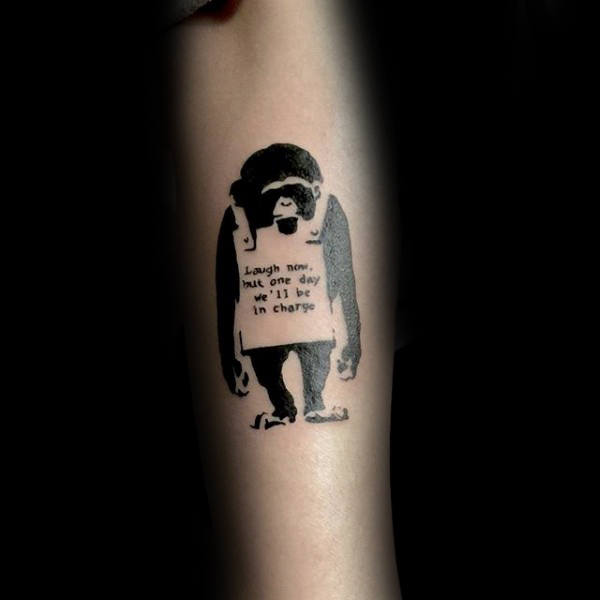 Cool Mens Banksy Tattoo Of Ape Wearing Sign With Words