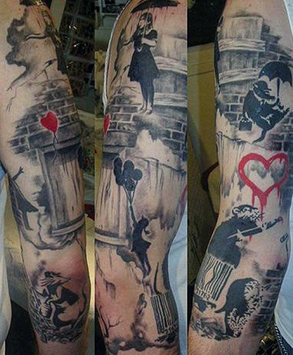 Cool Mens Banksy Themed Sleeve Tattoo