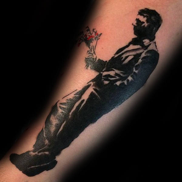 Guy With Flowers Mann Banksy Underarm Tattoo