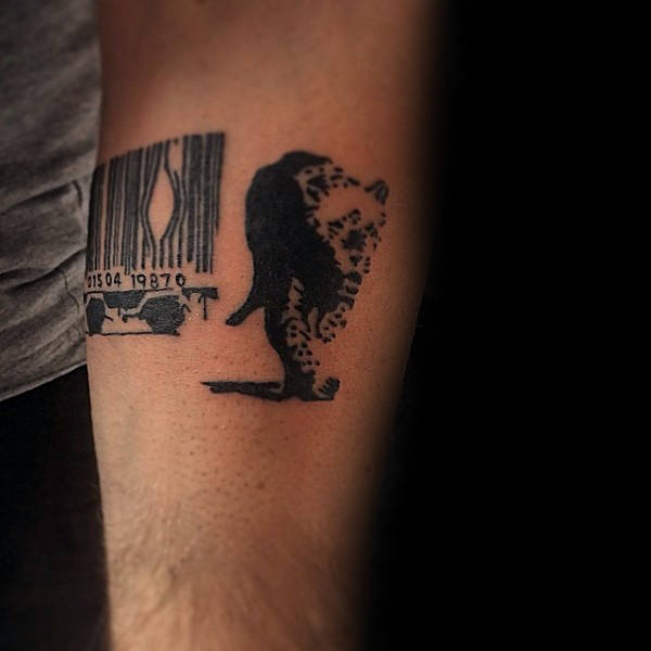 Animal Breaking Out Of Barcode Cage Guys Banksy Underarm Tattoo