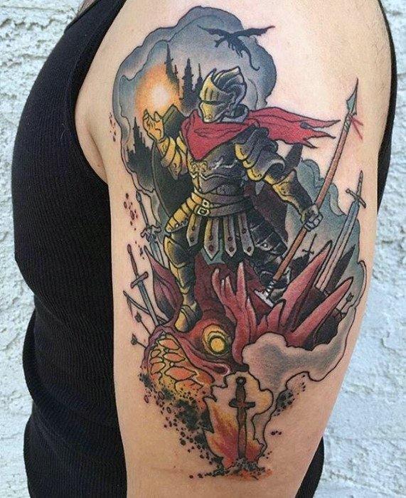 Incrível Mens Dark Souls Tattoo Designs