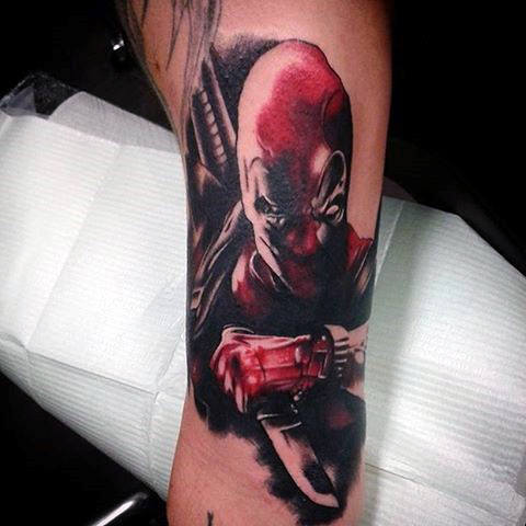 Deadpool Knife Guys Red And Black Tinta Tatu Lengan