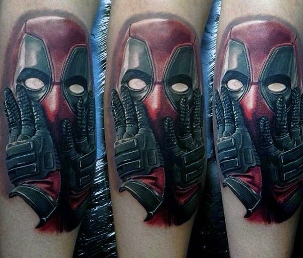 Deadpool Mens Leg Tattoo Designs