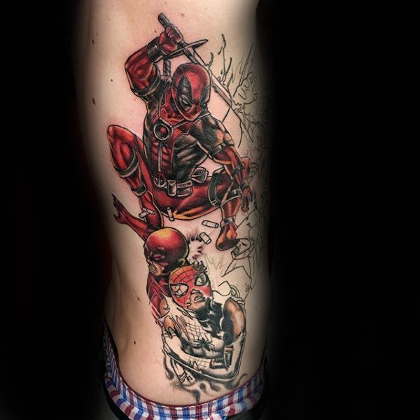 Gentleman Dengan Deadpool Jumping Rib Cage Side Of Body Tattoo