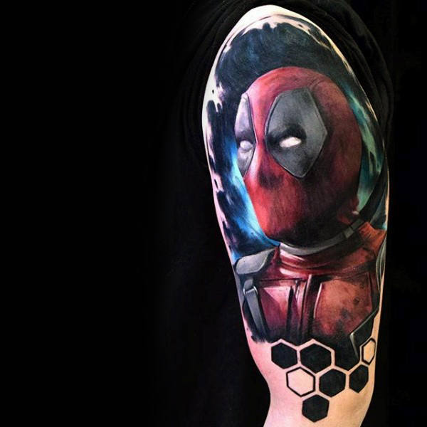 Honeycomb Mens Deadpool Arm Tattoos