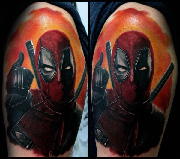 Orange Sky Deadpool Guys Upper Arm Tatu Cat Lengan