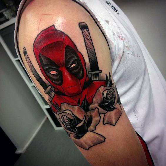 Rose Bunga Deadpool Guys Tattoo Lengan Atas