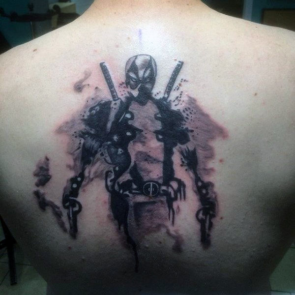 Watercolor Deadpool Shaded Male Tatotos Back