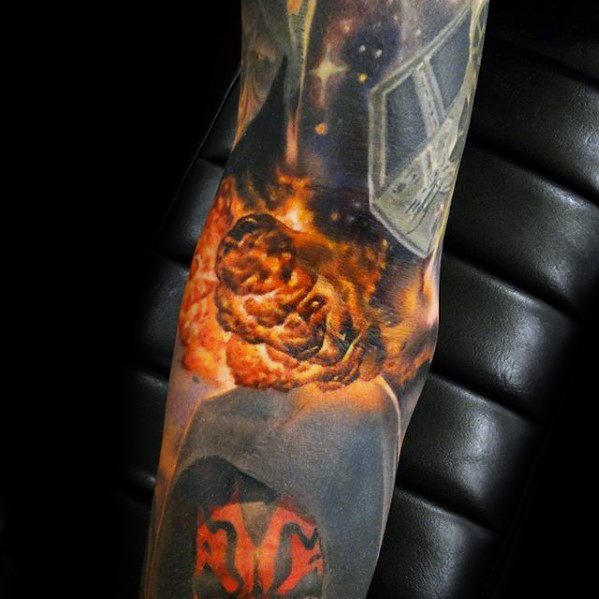 Guys Ditch Tattoo Star Wars Explosion 3d Realistic Design Ideas