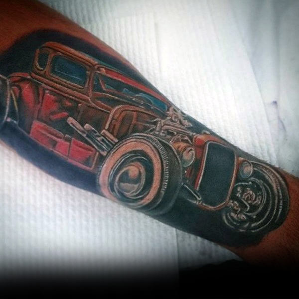 Super Hot Rod Tattoo Male Forearms