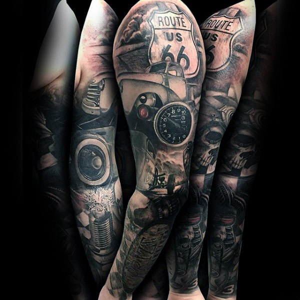 Fabulous Grey Hot Rod Tattoo Herren voller Ärmel
