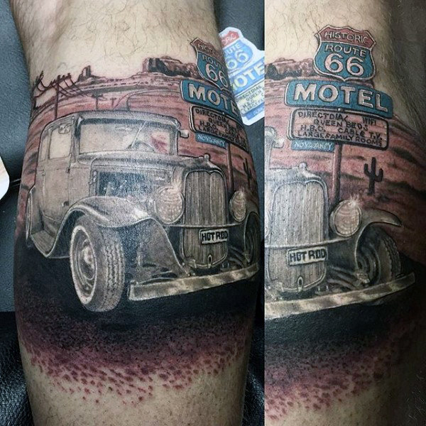 Guys Arms Hot Rod Richtung 66 Tattoo