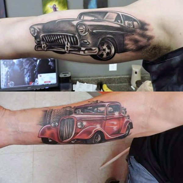 High Powered Hot Rod Tattoo männliche Unterarme
