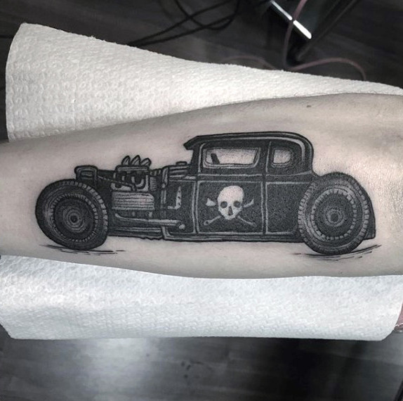 Jeep mit Gefahrensymbol Hot Rod Tattoo Male Forearms