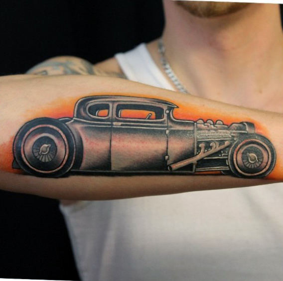 Mens Forearms Classy Hot Rod Tattoo