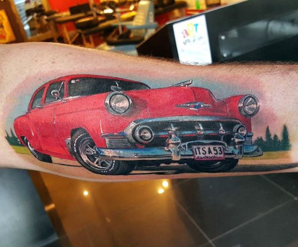Herren Unterarme Flashy Red Car Hot Rod Tattoo