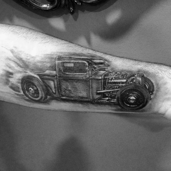 Herren Unterarme Hot Rod Grau Sketch Tattoo