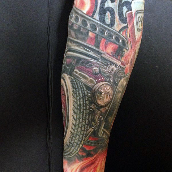 Mens Full Sleeves Bunte Hot Rod Tattoo