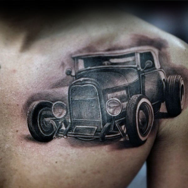 Olf Grau Hot Rod Tattoo Herren Brust