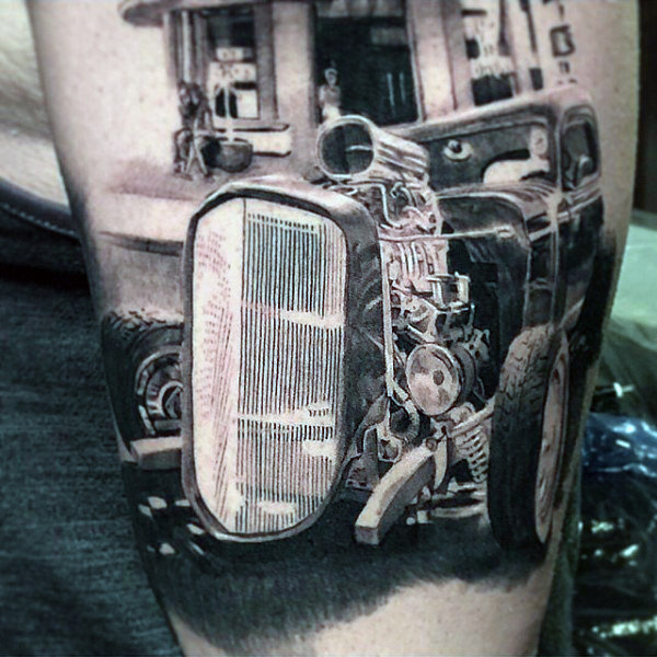 Realistische männliche Hot Rod Tattoo Design-Ideen