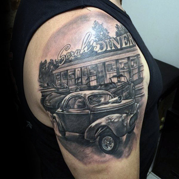Diner Hot Rod Grau Tattoo Jungs Arme