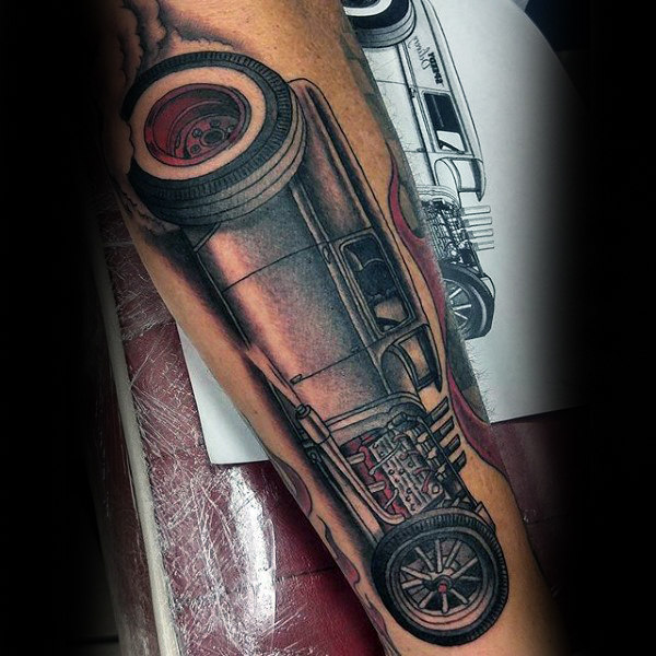 Effiziente Auto Hot Rod Tattoo Male Unterarme