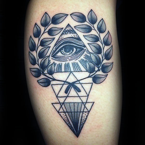 All Seeing Eye Geometric Olive Branch Mens Tattoo Designs