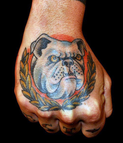 Guys Olive Branch Bulldog Hand Tattoos
