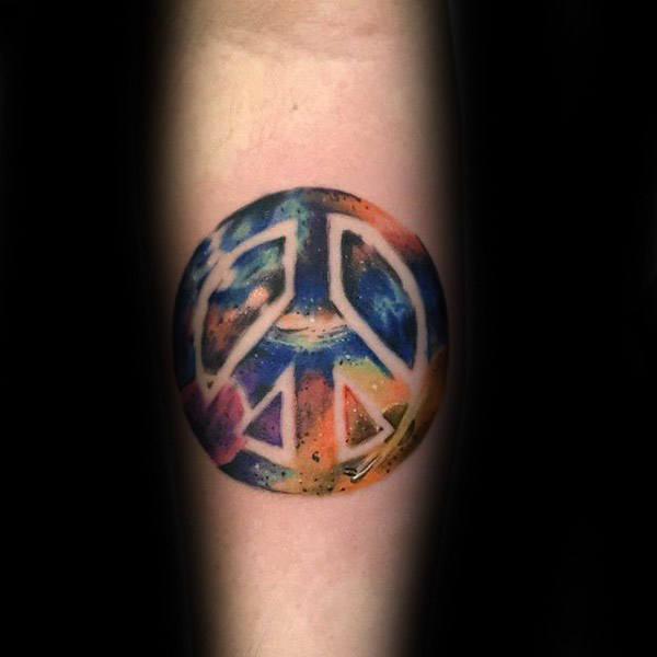 Cool Space Peace Sign Akvarell Guys Innerforearm Tattoo Design Ideas