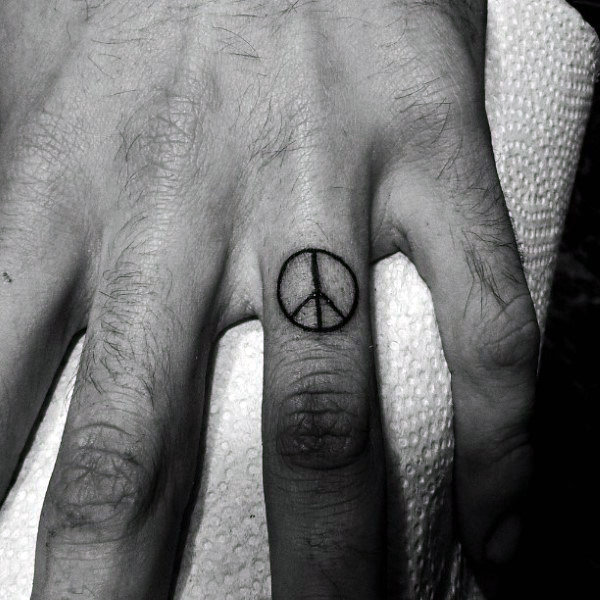 Finger Peace Sign Male Tattoo Ideas