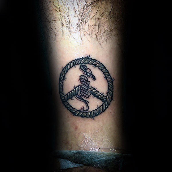 Gutter Rope Peace Sign Underarm Tattoo