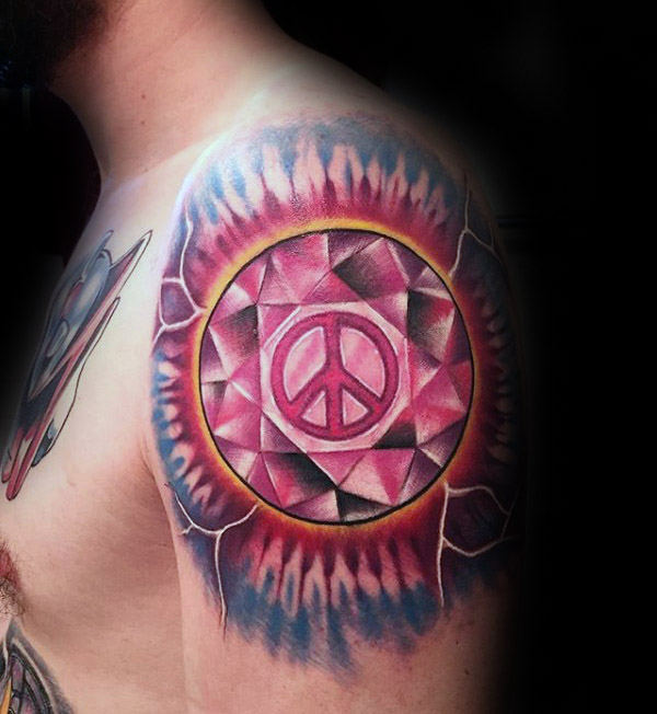 Lightning Colorful Peace Sign Herre Øvre Arm Tatoveringer