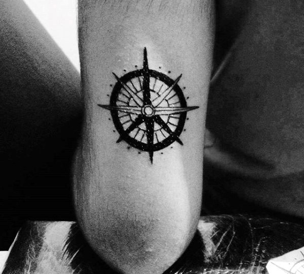 Nautical Star Guys Peace Sign Tricep Tattoo