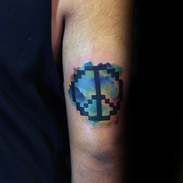 Pixalated Style Guys Peace Sign Akvarell Tricep Tattoo